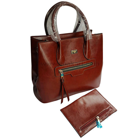 Coffee Brown Hand Bag_With Side Pocket Set of 2