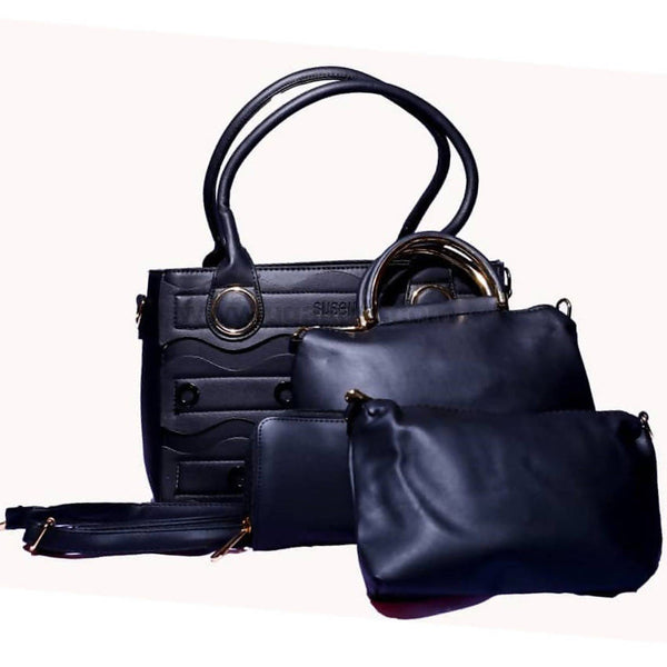 Susen Black 4Pcs Hand Bag