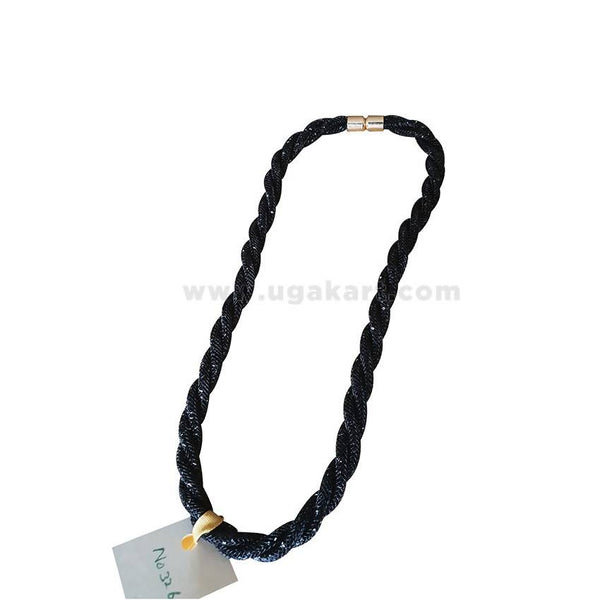 Shiner Single Necklace With Magnet - Black