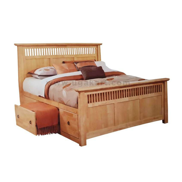 Brown Wooden Double Bed With Drawer