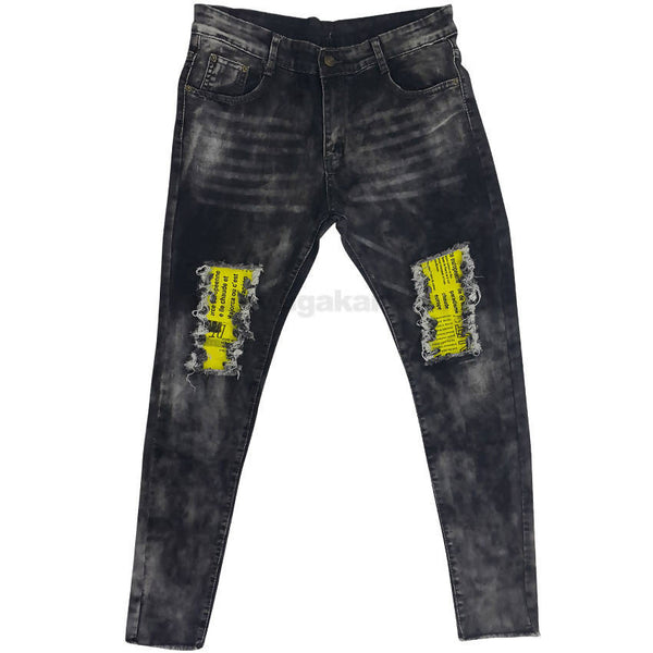 Light Black And White Ripped Patched Jeans For Mens