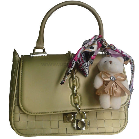 Light Green With Diamond Design Hand Bag