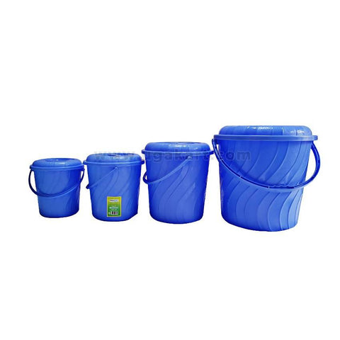 4 Pcs Plastic Buckets - Blue