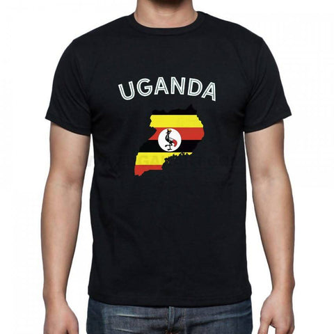 Map Of Uganda Flag Designed Men's T-Shirt - Black