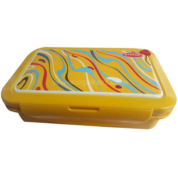Pratap Yellow Steel Lunch Box With Spoon