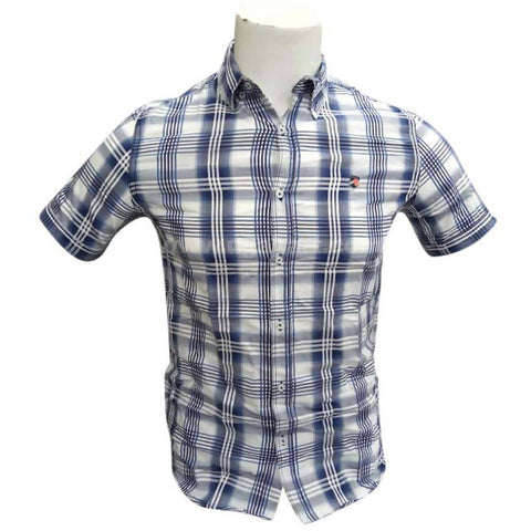 Short Sleeve Men's Checkered Casual Shirt