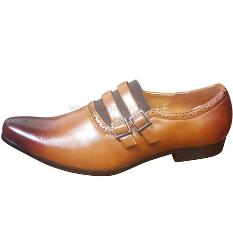 Men's Brown Leather Slip On Double Buckle Strap Gentle Shoes