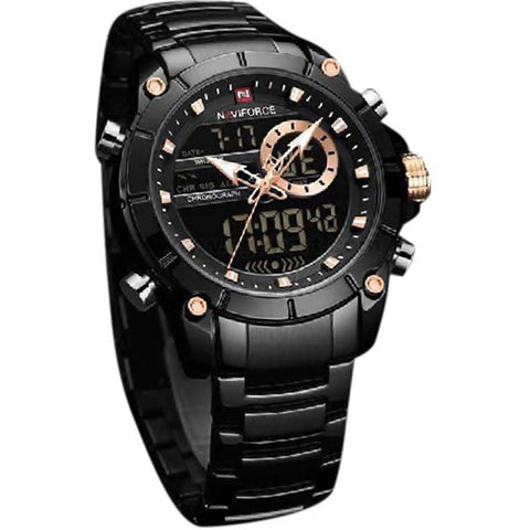NAVIFORCE Men's Black Digital Analog Display Watch