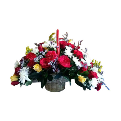 Mixed Flowers With Roses Bouquet Wooden Basket