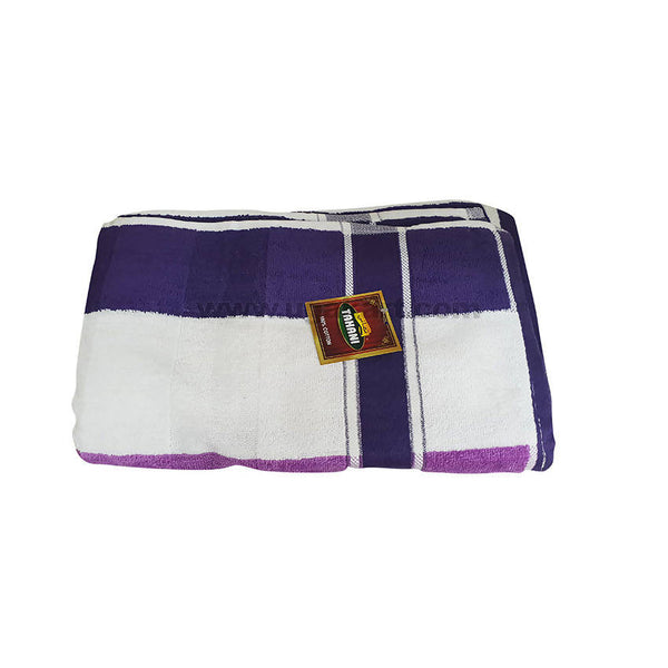 Bath Towel With Violet And White Strips-Size 70X140Cm