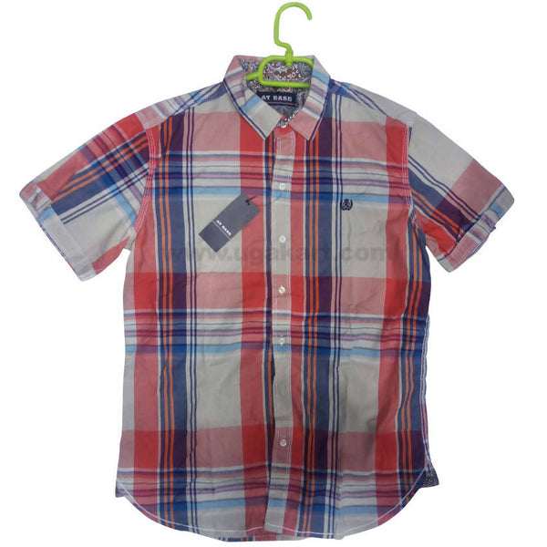 Magenta Half Sleeve Check Shirt For Men