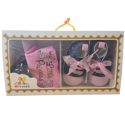 Pink Shoes,Bib & Hair Band Combo For Baby Girl 0 to 6 months