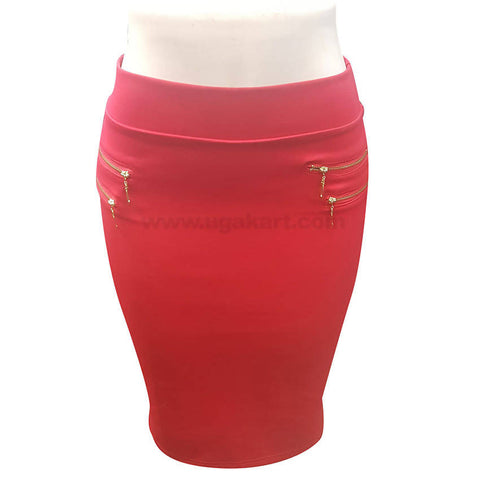 Red Ladies Skirt with Zip Designs (Size : S,M,L,XL)