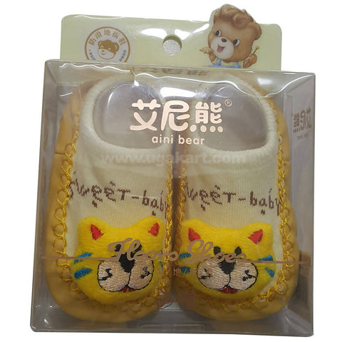 Aini Bear Yellow Baby Thickened Floor Socks/Shoes