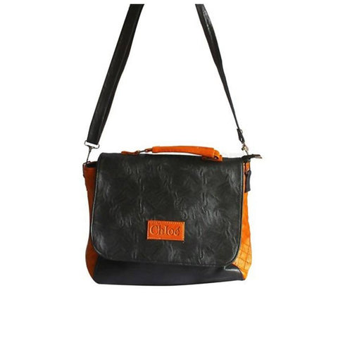 Chloe Shoulder Bag - Black, Orange