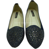 Dark Blue Ballet Flat Shoe With Stone