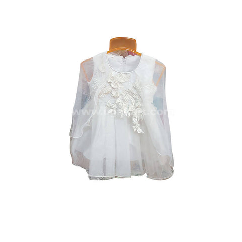 White color Frock For Girl_6 m to 3 yr