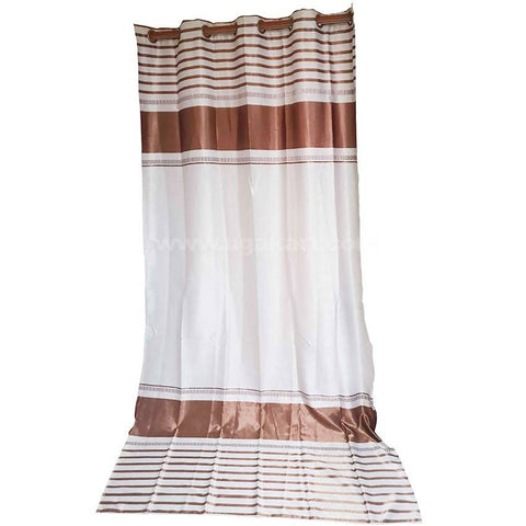 Cream & Brown Curtain Pair With Rings-Size 140x260cm