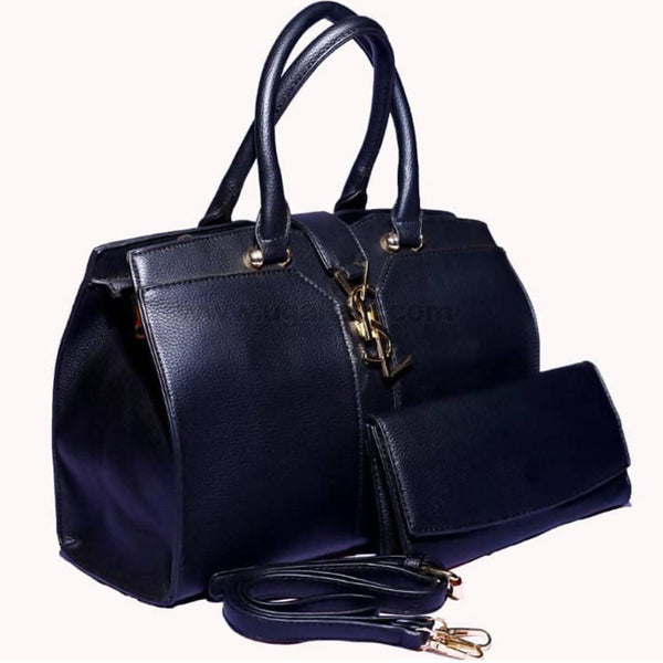 YSL Black Faux Leather Hand Bag
