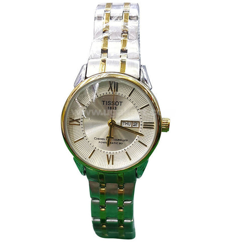 TISSOT Silver & Golden Stainless Steel Strap Women's Watch