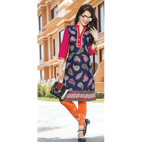 Top Kurti Cotton Material With Legging Full Set- XXL (Bust Size - 40)