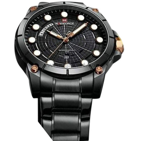 Naviforce Black Rounded Dial Analog Men's Watch