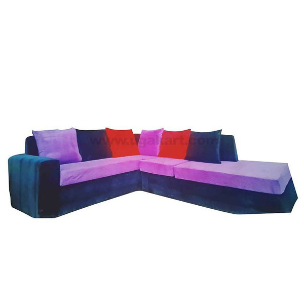 L Shape Violet And Dark Blue Sofa High Density With fibre Cushions