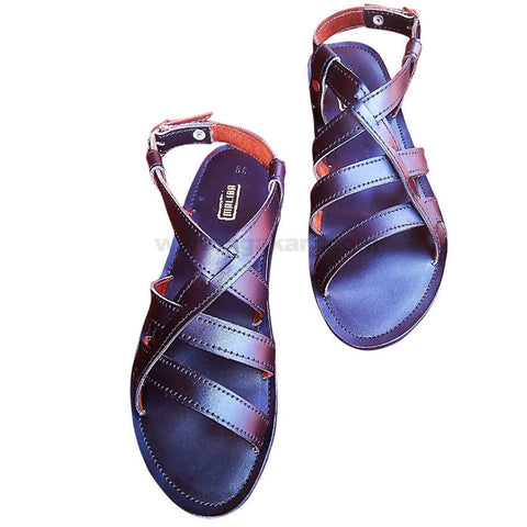 Maliba Black Leather Sandal With Strap For Men's