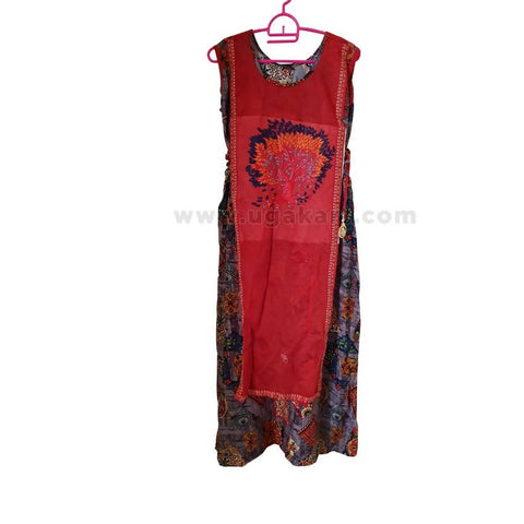 Ladies' Multi-colored Floral Designed Long Dress - Size L