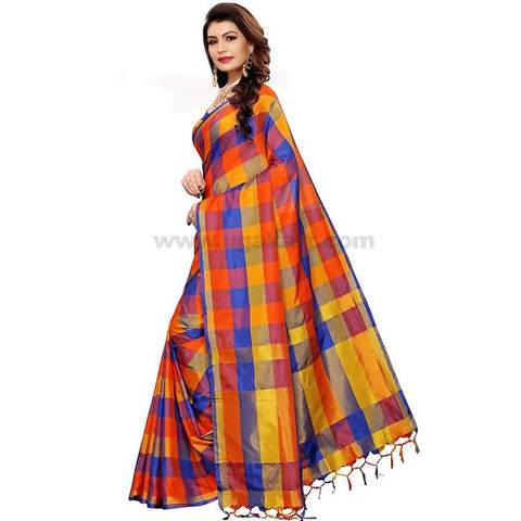 Orange and Black Weaved Checked Cotton Silk Saree With Blouse Piece