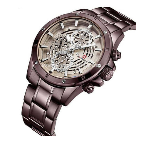 NaviForce Analog Marron Watch With Date