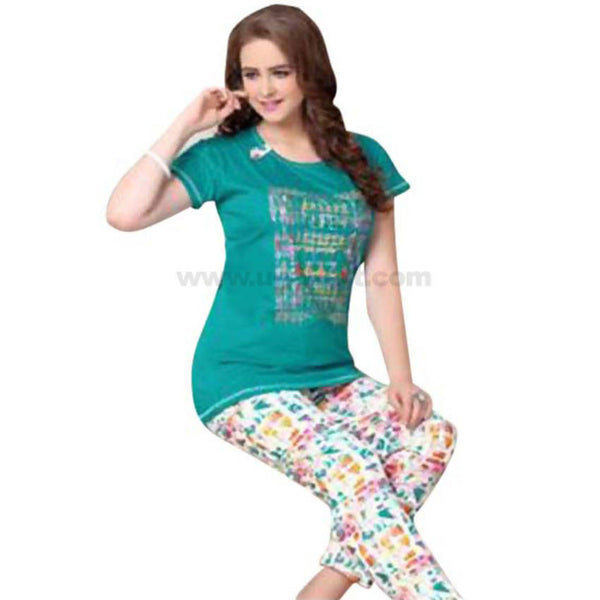 Women's Night Suit_Green Top & Multicolor Trouser