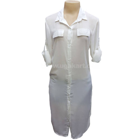 White Long Fit Cotton Shirt (Free Size)