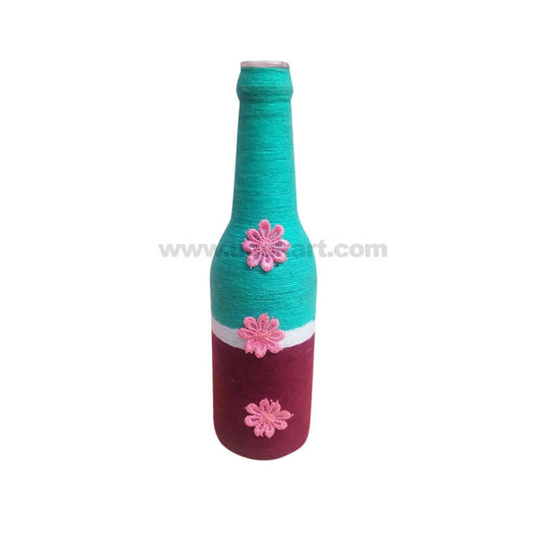 Decoration Hand Made Bottle With Flowers Big-Sea Green & Mahroon