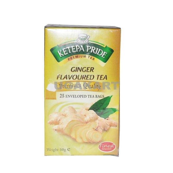 Ketepa Pride Ginger Flavoured Tea(25 Enveloped Tea Bags) 50Gm