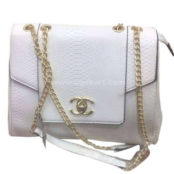 CC White Faux Leather Hand Bag Golden Chain
