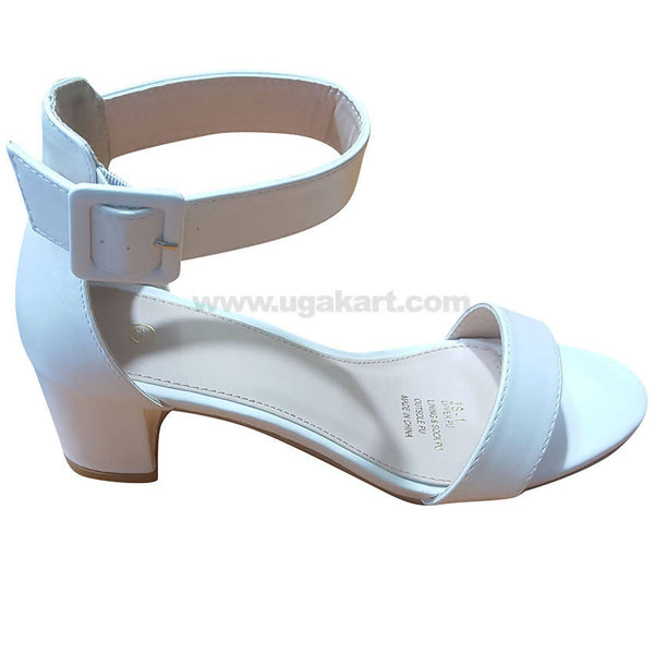 Women's White Ankle Strap Heel Shoes