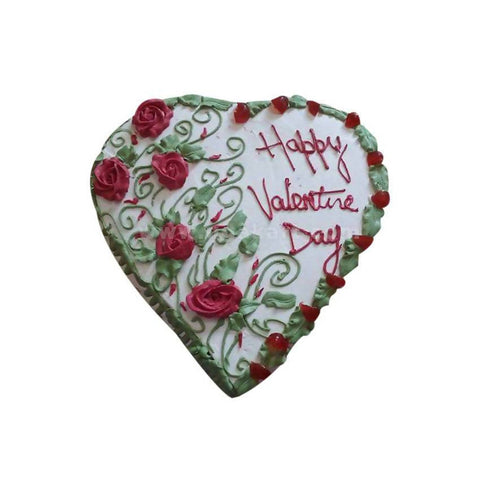 Heart Shaped With Rose and Floral White Forest Fresh Cream Cake