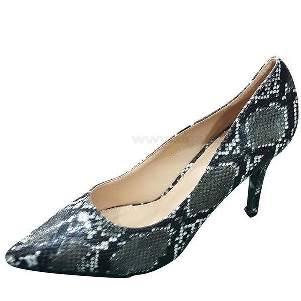 Black White Mix Designed High Heel Shoe For Women