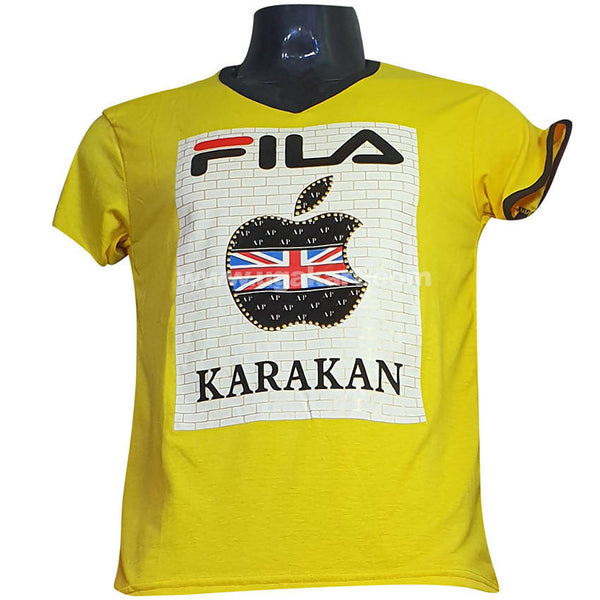 Fila karakan Printed Yellow T Shirt