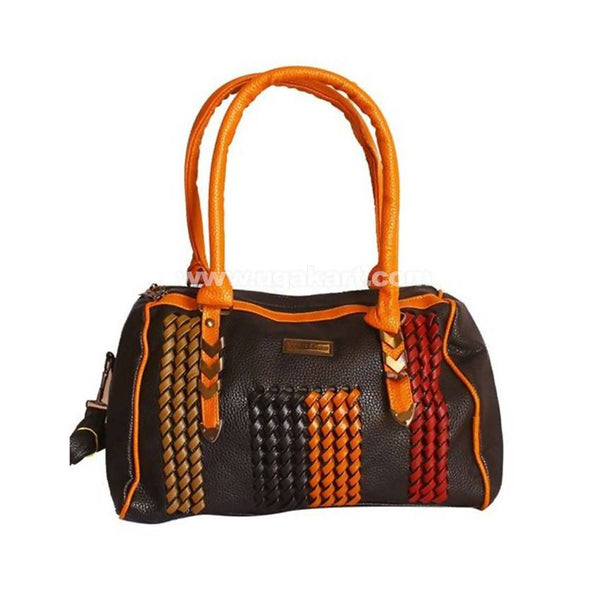 Duffle Leather Ladies Handbag - Black, Orange