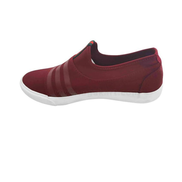 Mens Lastic Detailed Designer Sneaker - Maroon & White