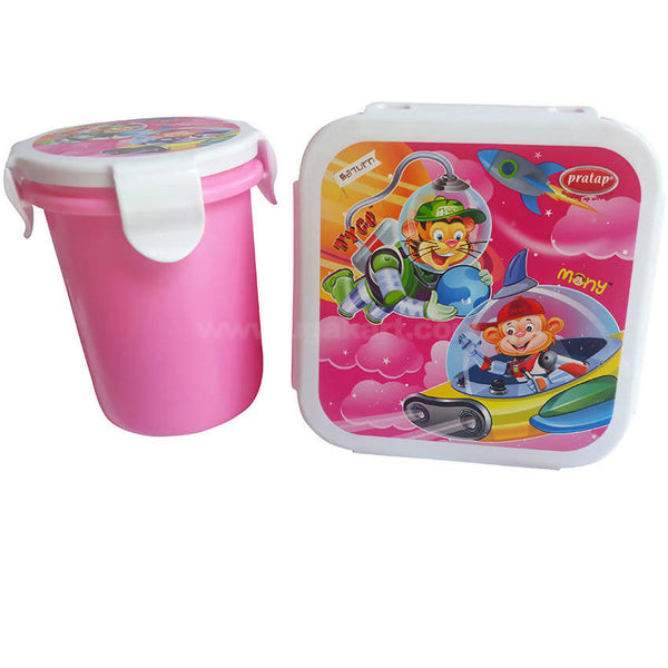 Pratap Pink Plastic Lunch Box With Bottle Set Of 2
