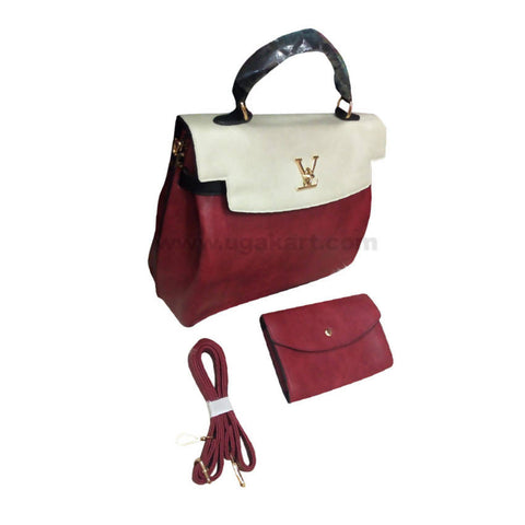 White And Maroon Set of Two Women'S Hand Bag