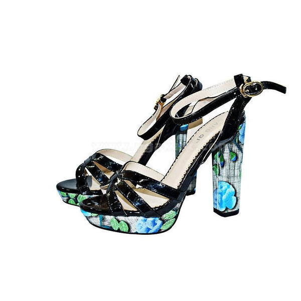 Black Ladies High Heel Shoes With Printed Sole