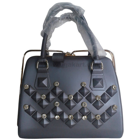 Black With Diamond Design Hand Bag