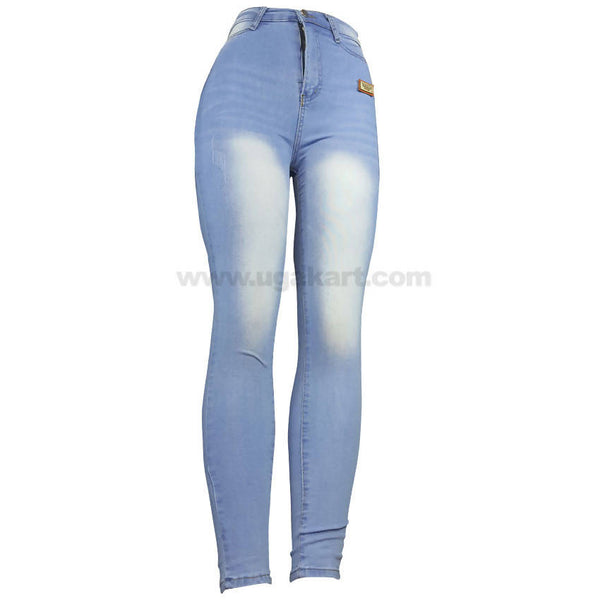 Denim Sky Blue With White Shade High Waist Fit Jean