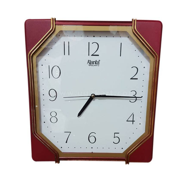 Ajanta White And Maroon Square Wall Clock