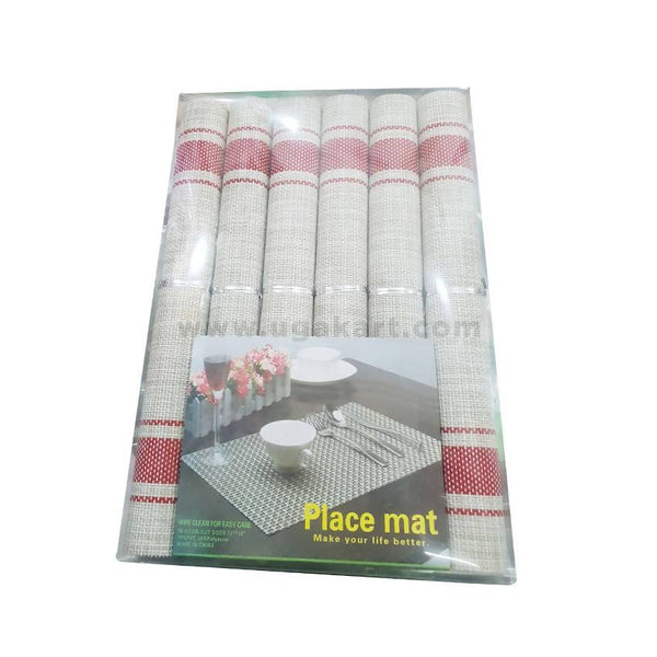 Table Mat Cream & Maroon 6Pc-12/18Inch-70%Pvc-30%Polyester