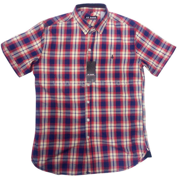 Purple Check Half Sleeve Shirt For Men